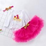 Abiti Vestito Bambina 3 Pezzi Neonata Primo Compleanno Abbigliamento Pagliaccetto + Gonna + Fascia,6-12mese