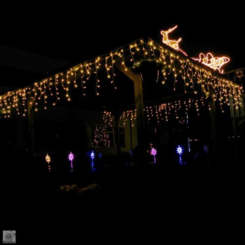 480 Led 12m Tenda Luminosa A Cascata Luci Natale Bianco