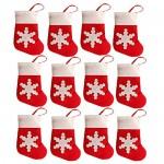 Gemini_ Mall®, set da 12 pezzi., decorazioni natalizie da tavola a forma di calze rosse di Babbo Natale, porta posate o sacchetto porta caramelle