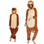 Pigiama Kigurumi Animale Costume per Carnevale, Halloween, Festa, Cosplay Tuta Adulti e Bambini (Altezza 135-145cm/140 Leone)