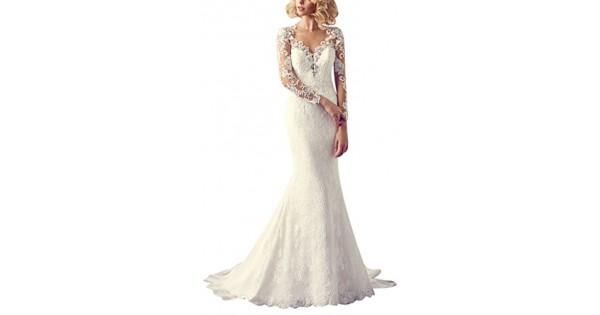 George bride sexy vestito chiaroveggente con maniche lunghe abito