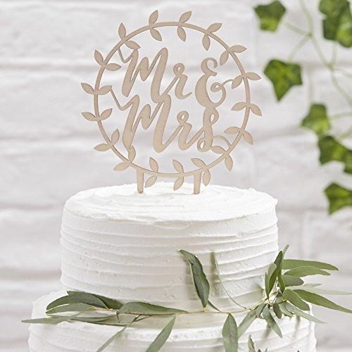 Beautiful Botanics - Wooden Mr & Mrs Script Cake Topper