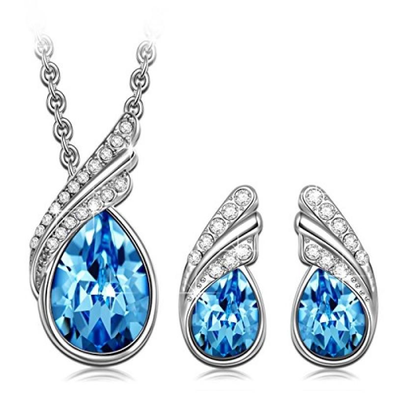 Regali Di Natale Swarovski.Ottimo Regalo P M Blu Cristallo Swarovski Elements Parure Collana