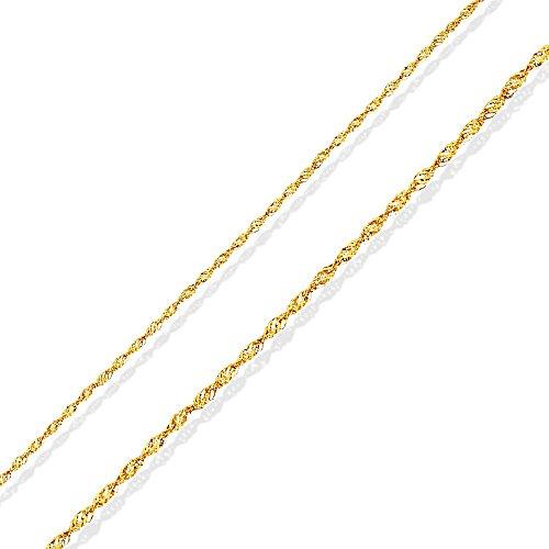 Catena d'oro / collana in oro 14 carati. Regalo per la comunione, battesimo, compleanno. 42cm, 1.3g