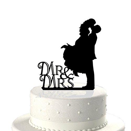 Acrilico Sposa e Sposo Bacio Silhouette Aggancio di Cerimonia Nuziale Cake Topper Scegli la Decorazione Della Torta Accessori Nero