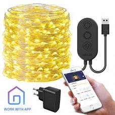 Catena Luminosa Stringa Luci LED con APP, Govee 10m 100LED Luce Fata Scintillio Impermeabile IP67 con 8 Modi per Patio, Feste, Matrimoni, Giorno de...
