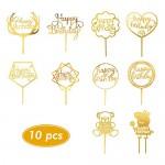 10 Pezzi Topper Torta Compleanno Decorazione per Festa, Cake Topper Happy Birthday - Confezione da 10, Oro