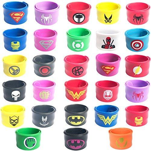 28 Pezzi Braccialetti Supereroi Bambini,Superhero Braccialetti Slap, Braccialetti per Bambini Bracciale in Fasce da Supereroe,braccialetti per fest...