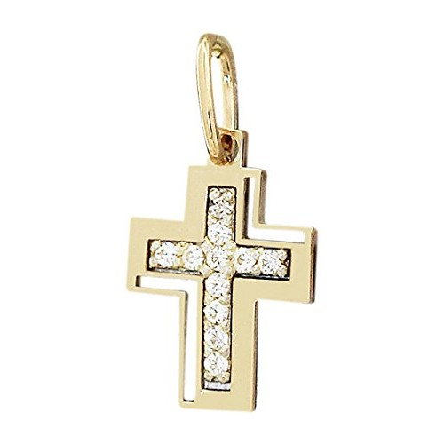 Hobra-oro molto piccolo a forma di croce in oro giallo 585 MIT zirconi oro croce per battesimo oro ciondolo 14 KT