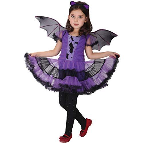Homebaby - Bambino Abito Da Festa + Capello + Bat Ala Vestito Completi Bambini Ragazze Costume Di Halloween Abbigliamento Costume Partito Vestito T...