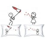 KISS-LOVE CATCHER & His Hers-Federa per cuscino, stile vintage, in confezione regalo per anniversario di matrimonio, confezione regalo, motivo: Val...