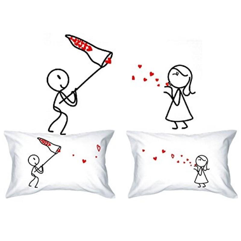 Kiss Love Catcher His Hers Federa Per Cuscino Stile Vintage In Confezione Regalo Per Anniversario Di Matrimonio Confezione Regalo Motivo Val