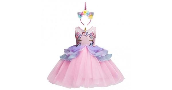 Vestiti Eleganti Bimba 7 Anni.Costume Da Principessa Unicorno Per Bimba Con Vestito Lungo