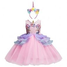 Costume da Principessa Unicorno per Bimba con Vestito Lungo Compleanno Ballerina Abiti Bambini Carnevale Halloween Cosplay Abito A Rosa (2PCS) 6-7 ...