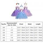 Costume da Principessa Unicorno per Bimba con Vestito Lungo Compleanno Ballerina Abiti Bambini Carnevale Halloween Cosplay Abito A Rosa (2PCS) 7-8 ...