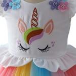 Costume da Unicorno Arcobaleno Vestito Elegante da Fiore Ragazza Tutu Floreale Principessa Festa Cerimonia Carnevale Compleanno Comunione Halloween...