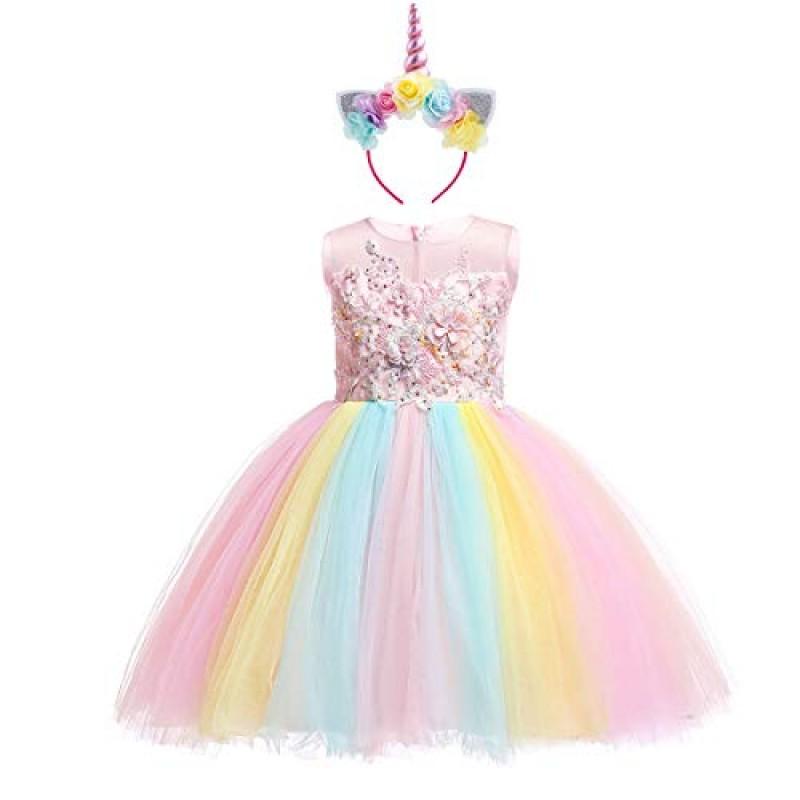 diversificato nella confezione acquista autentico nuova alta qualità Costume da Unicorno Arcobaleno Vestito Elegante da Fiore ...