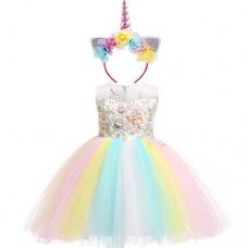 e5fdef4f0d3f Costume da Unicorno Arcobaleno Vestito Elegante da Fiore Ragazza Tutu  Floreale Principessa Festa Cerimonia Carnevale Compleanno