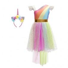 181c9d68d54d Aggiungi alla lista dei desideri. Confronta. Costume da Unicorno Arcobaleno  Vestito Elegante da Fiore Ragazza Tutu Hi-lo Principessa Festa Cerimonia