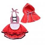 IBTOM CASTLE Costume di Carnevale da Cappuccetto Rosso Vestito per Bambina Ragazza Travestimento Veneziano Halloween Cosplay Principessa Festa Ceri...