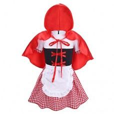 iEFiEL Costume Cappuccetto Rosso Principessa Bambina Vestito di Mantella con Cappuccio Cosplay Halloween Carnevale per Festa Compleanno Party 6 Mes...