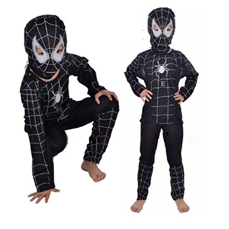 Travestimenti Halloween Uomo.Taglia L 7 8 Anni Costume Travestimento Carnevale Halloween Spiderman Super Eroe Uomo Ragno Nero Bambino