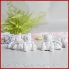 Ingrosso e Risparmio Gessetti binachi a forma di orsetto con dettagli celesti da maschietto,possono essere profumati - Bomboniera nascita,battesimo...
