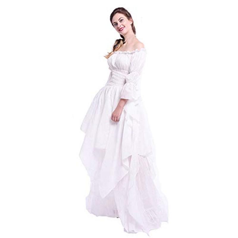 the latest caf84 deb22 Italily Donna Cosplay Gonna Vestito Ruching Retro Principessa Elsa Dress  Costume Abito Costumi Manica Lunga Off Shoulder Medievale Vestito  Lunghezz...