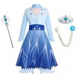 IWEMEK Vestito da Principessa Elsa Costume Regina del Ghiaccio delle Nevi Abito + Cappotto + Pantaloni + Accessori per Compleanno Natale Carnevale ...