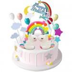 iZoeL 21 pezzi Unicorno Cake Topper Kit Nuvola Arcobaleno Palloncino Buon Compleanno Banner Decorazione Torta Per Ragazzo Ragazza Compleanno Del Ca...
