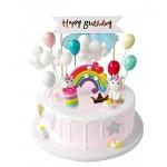 iZoeL Unicorno Cake Topper Kit Nuvola Arcobaleno Palloncino Buon Compleanno Banner Decorazione Torta per Ragazzi Ragazze Bambini Compleanno