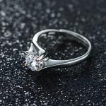 JiangXin Argento 925 Solitare Diamante Simulato Anello di Promessa di Fidanzamento,Oro Rose Bianco Placcato Aprire l'anello di Barretta per le Donn...