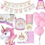 Jolily Decorazioni Compleanni Unicorno Pacco 16 Ospiti, 1* Tovaglia Copertina 16* Tazze 16* Piatti 16* Tovaglioli, 1* Buon Compleanno Banner 1* Uni...