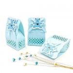 JZK 24 Blu busta confetti carta bustina azzurre scatola portaconfetti scatolina bomboniara segnaposto per battesimo nascita comunione compleanno bi...