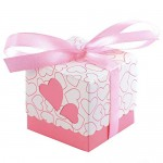 JZK 50 Rosa Cuore Scatola portaconfetti scatolina bomboniera segnaposto portariso per Matrimonio Compleanno Battesimo Natale Nascita Laurea Comunione