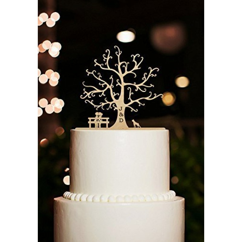 albero di ciliegio  topper per torta nuziale  con sposi cane personalizzata  in legno  con