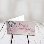 Bigliettini comunione bimbo/bimba in 3 diverse fantasie set da 20, 50, 100, pezzi - Kamiustore (50 pezzi, rosa)