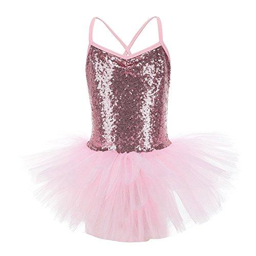 KISSION Classica Vestito da Danza,Tutu Body Brillante Balletto per Prestazioni o Allenamento