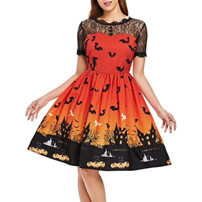 c02eb6213449 KOLY Vestito Donna Halloween Party Swing Dress Vestito da ragazza di  Halloween Costume da Principessa Carnevale
