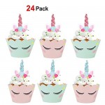 Konsait unicorno Topper per Torta Decorazione Cupcake Topper corna orecchie e ciglia doppio lato cupcake wrapper per bambini regali Unicorno festa ...
