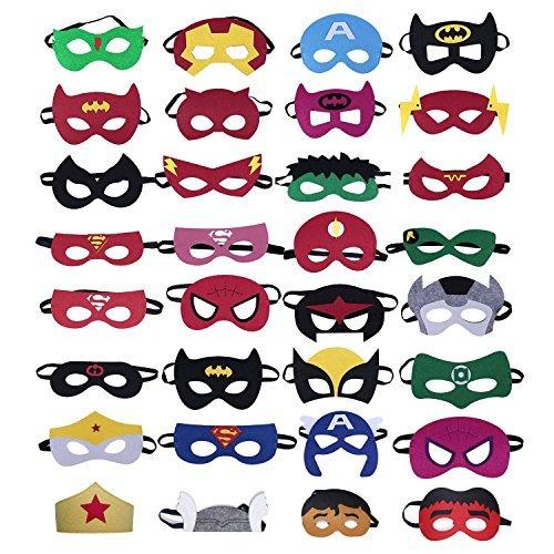 36 pezzi maschere da supereroe, maschere da festa per supereroi Maschere per occhi per bambini in maschera per età superiore ai 3 anni, forniture p...