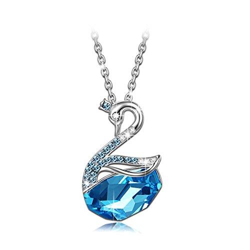Lady colour Cigno Collana donna con cristalli da Swarovski Gioielli blu regalo donna compleanno festa della mamma regalo san valentino regalo natal...
