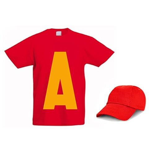 L'Arcobaleno di Luci - T-Shirt Con A Grande Davanti Alvin Nome + Cappellino Maglietta, colore: rossa, taglia: 3 - 4 anni