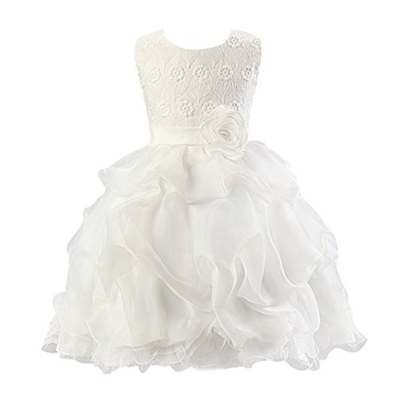 2c00490dc8 Abito Estivo Bambina - LATH.PIN Principessa da Sposa Vestito Bambina  Floreale Pizzo Corto Abiti da Cerimonia