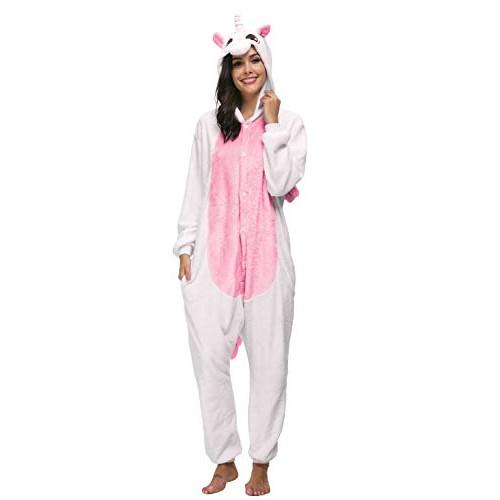 Kigurumi Unicorno Costumi di Carnevale Adulti Cosplay Halloween Carnevale Costume Pigiama Tuta Animali Unisex