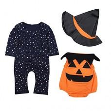 Le SSara Bambino inverno zucca Halloween pagliaccetto neonato Body Costume abiti 3 pz (12-18 Mesi, Orange)