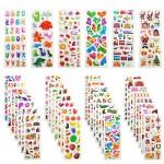 Leenou Adesivi per Bambini, 900+ Adesivi 3D Stickers per Puffy Adesivi per Regali Gratificanti Scrapbooking Inclusi Camion, Aeroplani, Animali, Pes...