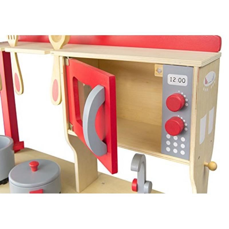 Leomark Cucina Dell Chef giocattolo in legno Cucina accessoriata per bambini