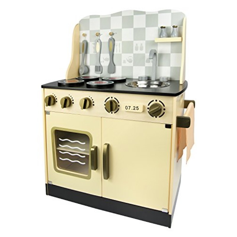 Leomark cucina vintage giocattolo in legno cucina accessoriata per bambini - Cucine giocattolo in legno ...