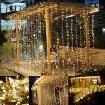 LE Luci Cascata per Finestra Porta 3x3 m 306 LED, 8 Modalità, Funzione di Memoria Lucine fatate romantiche per Decorazione Feste Natale Luce bianca...